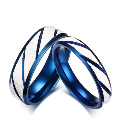 Tinnivi Blue and White Titanium Steel Simple Twill Rings for Couples