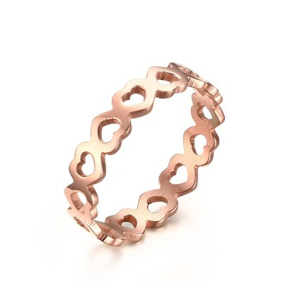 Tinnivi Heart Design Hollow Out Titanium Steel Rose Gold Plated Womens Ring