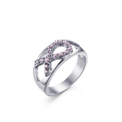 Tinnivi Created Pink Gemstone Ribbon Design Titanium Steel Womens Ring