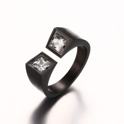 Tinnivi Black Titanium Steel Fashion Two Princess Cut Created White Sapphire Adjustable Ring