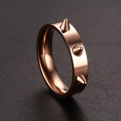 Tinnivi Cool Punk Style Rose Gold Plated Titanium Steel Womens Band