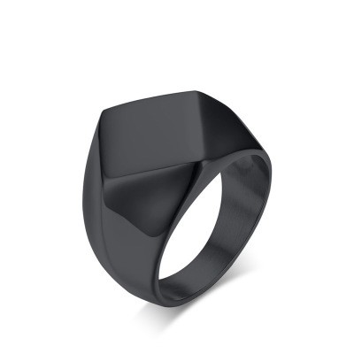 Tinnivi Stylish Black Titanium Steel Rhomb Mens Band