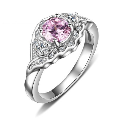 Tinnivi Stylish Created Pink Gemstone Titanium Steel Engagement Ring