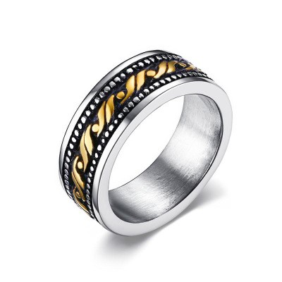 Tinnivi Titanium Steel Cool Gold Wave Pattern Mens Band
