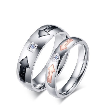Tinnivi Arrowhead Created White Sapphire Titanium Steel Band For Couples