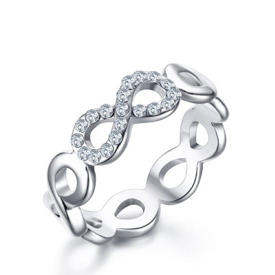 Tinnivi Titanium Steel Fashion Personality Infinite Loop Womens Ring