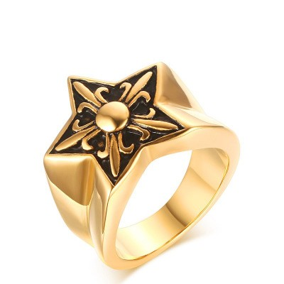 Tinnivi Gold Titanium Steel Five pointed Star Mens Band
