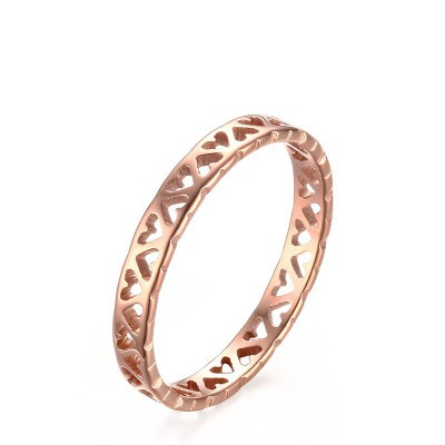 Tinnivi Rose Gold Plated Titanium Steel Heart Hollow Out Womens Band