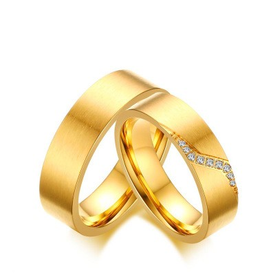 Tinnivi Created White Sapphire Gold Plated Titanium Steel Stylish Rings For Couples