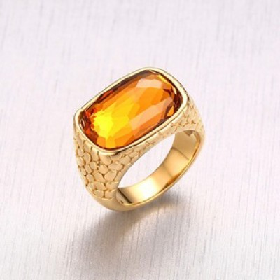 Tinnivi Stylish Created Topaz Gold Plated Titanium Steel Cocktail Womens Ring