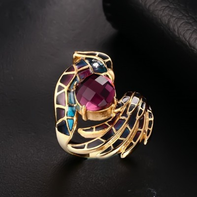 Tinnivi Titanium Steel Created Purple Gemstone Phoenix Gold Plated Womens Ring