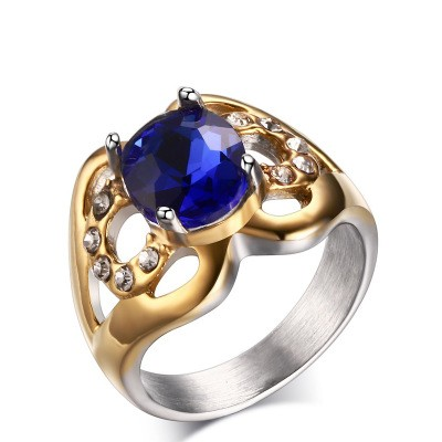 Tinnivi Stylish Round Cut Created Sapphire Titanium Steel Womens Ring