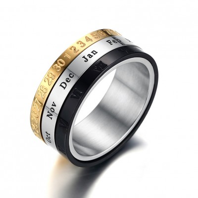 Tinnivi Fashion Reminding Time Rotatable Ring with Roman Arabic Number Dates Calendar