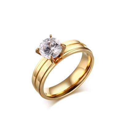 Tinnivi Simple Round Cut Created White Sapphire Gold Plated Titanium Steel Engagement Ring