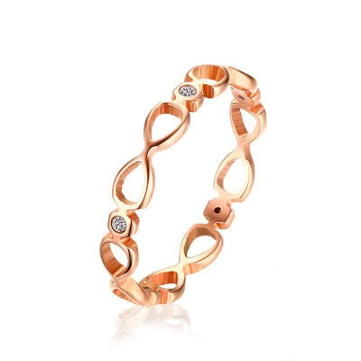 Tinnivi Rose Gold Plated Titanium Steel infinite Hollow Out Womens Band