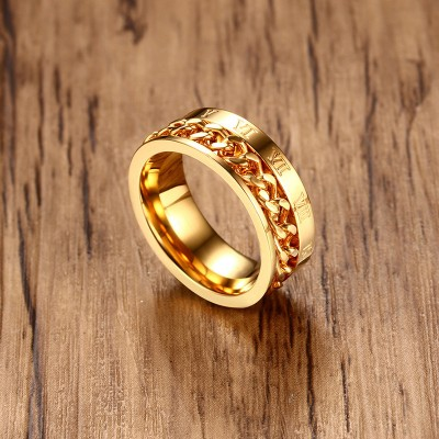 Tinnivi Gold Plated Titanium Steel Chain Inlay With Roman Numbers Mens Ring