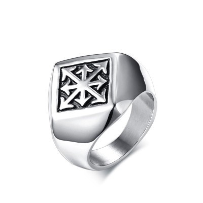 Tinnivi Personalized Silver Color Titanium Steel Arrow Mens Ring