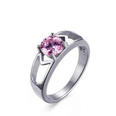 Tinnivi Round Cut Created Pink Gemstone Fashion Titanium Steel Womens Ring
