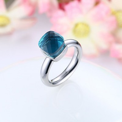 Tinnivi Cushion Cut Created Blue Gemstone Elegant Titanium Steel Womens Ring