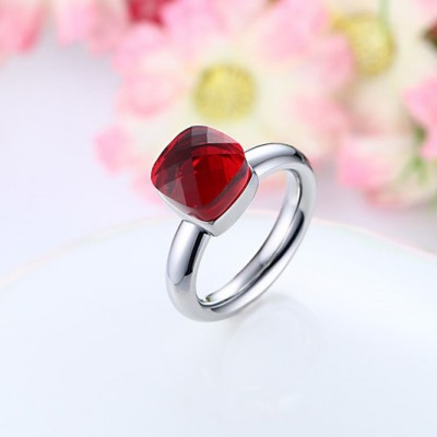 Tinnivi Titanium Steel Elegant Cushion Cut Created Ruby Womens Ring