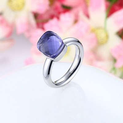 Tinnivi Titanium Steel Elegant Cushion Cut Created Purple Gemstone Womens Ring