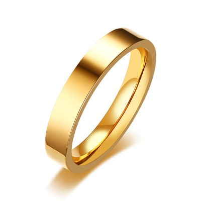 Tinnivi Simple Gold Plated High Polished Titanium Steel Band