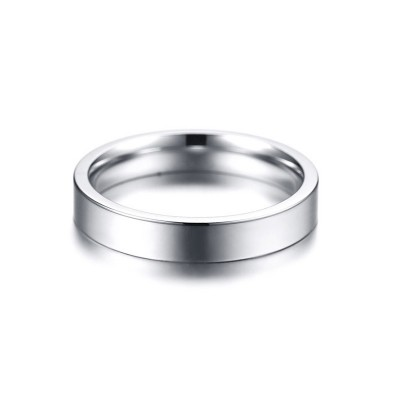 Tinnivi Simple Silver Color High Polished Titanium Steel Band