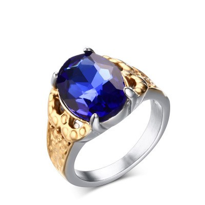 Tinnivi Oval Cut Created Sapphire Titanium Steel Engagement Ring