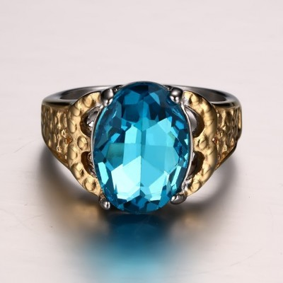 Tinnivi Created Aquamarine Oval Cut Titanium Steel Engagement Ring