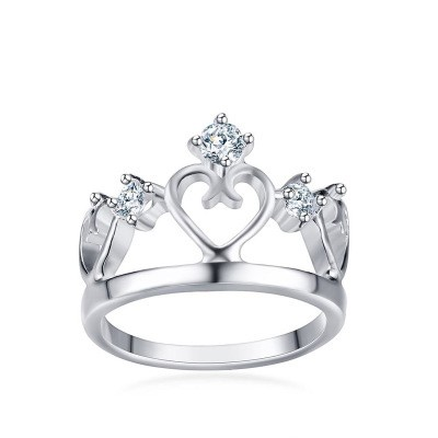 Tinnivi Created White Sapphire Heart Hollow Out Crown Titanium Steel Ring