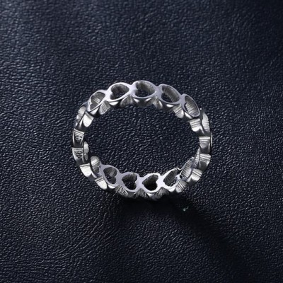 Tinnivi Silver Color Hollow Out Heart Design Titanium Steel Womens Ring