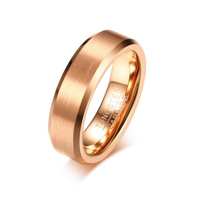 Tinnivi Matte Finish Beveled Polished Edge Comfort Fit Rose Gold Titanium Steel Mens Band