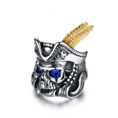 Tinnivi Titanium Steel Captain Skull Pirate Mens Ring