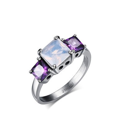 Tinnivi Titanium Steel Princess Cut Created White Sapphire With Created Amethyst Three Stone Womens Ring