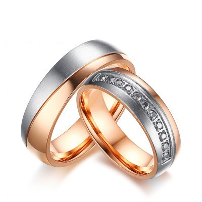 Tinnivi Rose Gold And Silver Titanium Steel Created White Sapphire RIngs For Couples