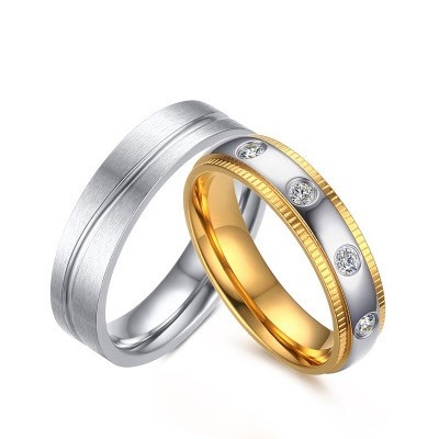 Tinnivi Silver And Gold With Created White Sapphire Titanium Steel Rings For Couples