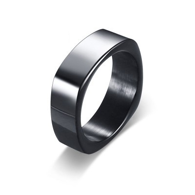 Tinnivi Black Titanium Steel Fashion Mens Band