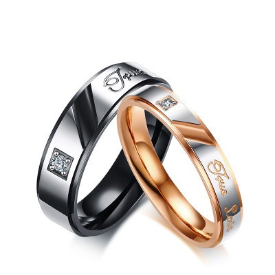 Tinnivi Ture Love Black And Rose Gold Titanium Steel With Created White Sapphire Rings For Couples