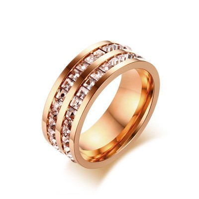 Tinnivi Double Rows Princess Cut Created White Sapphire Rose Gold Titanium Steel Womens Ring