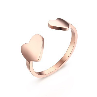 Tinnivi Rose Gold Plated Titanium Steel Double Heart Adjustable Womens Ring