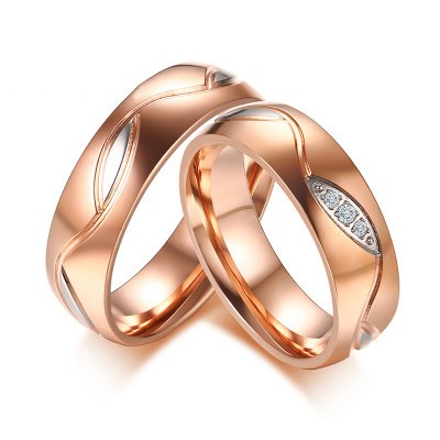 Tinnivi Created White Sapphire Rose Gold Titanium Steel Rings For Couples