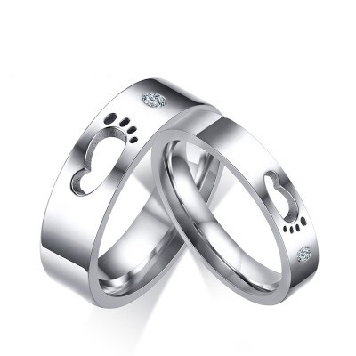 Tinnivi Created White Sapphire Clown Feet Titanium Steel Rings For Couples