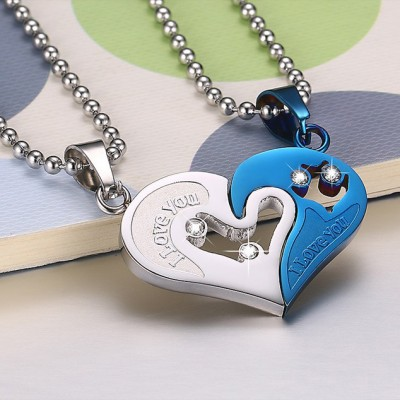 Tinnivi Blue Heart Pendant Titanium Steel With Chain Necklace