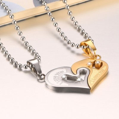 Tinnivi Gold Titanium Steel Heart Pendant With Chain Necklace