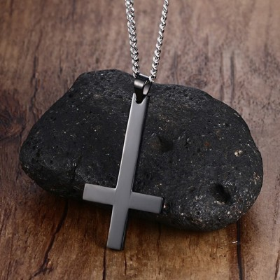 Tinnivi Simple Black Titanium Steel Cross Pendant Necklace With Chain for Men
