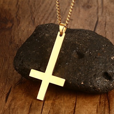 Tinnivi Gold Plated Titanium Steel Simple Cross Pendant Necklace With Chain for Men