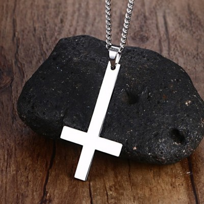 Tinnivi Silver Color Titanium Steel Simple Cross Pendant Necklace With Chain for Men