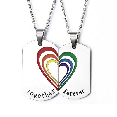 Tinnivi Rainbow Heart Titanium Steel Pendant Together Forever Couple Necklace Set