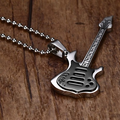Tinnivi Titanium Steel Guitar Music Lovers Pendant Necklace for Men with Chain