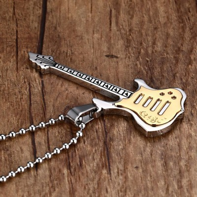 Tinnivi Gold PLated Titanium Steel Guitar Music Lovers Pendant Necklace for Men with Chain